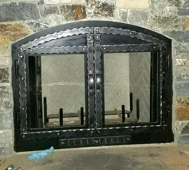 Let our craftsmen create your custom fireplace doors -* Single or Double Doors* Hammered or Smooth Metal* Glass or Mesh Screen (or both if needed)* Round or Square Rivets* Natural Rubbed Linseed Oil Finish or Powder Coat Finish of Your Choice* Twisted or P